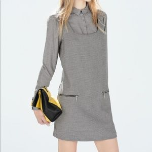 Zara Houndstooth Pinafore Dress XS